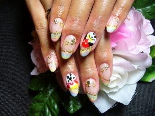Дизайн ногтей жидкие камни, симпатичный маникюр с рисунком, блестками и стразами