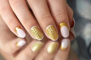 """Дизайн ногтей с фольгой, золотой дизайн ногтей """"рептилия"""""""