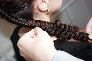 Темно каштановый цвет волос, воздушный рыбий хвост