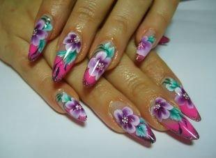 Аквариумный дизайн ногтей, китайская роспись на ногтях - красивые листочки