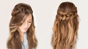 Светло каштановый цвет волос на длинные волосы, прическа на длинные волосы - венок из кос