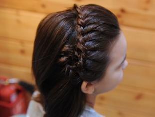 Цвет волос темный шатен, прическа с косой-ободком