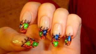 Красивые ногти френч с рисунком, оранжевый френч с яркими цветами