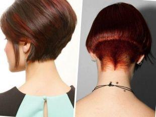 Темно медный цвет волос на короткие волосы, варианты стрижки боб для густых волос