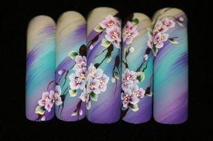 Китайская роспись ногтей, китайская роспись на ногтях - цветущая сакура