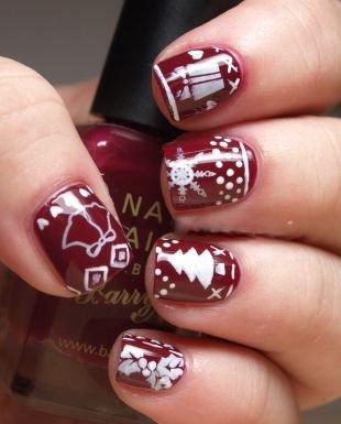 Рисунки на коротких ногтях, бордовый маникюр с новогодними рисунками