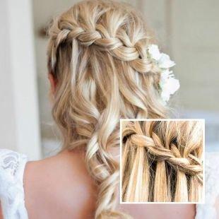 Свадебные прически на длинные волосы, прическа с косами на выпускной - водопад