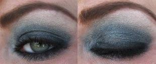 Темный макияж для серых глаз, вечерний вариант макияжа для нависшего века