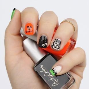 Рисунки паука на ногтях, модный дизайн ногтей на хэллоуин