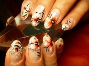 Рисунки на нарощенных ногтях, китайская роспись на ногтях - раскрытый цветок