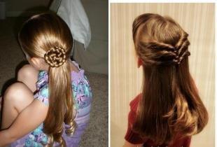 Натурально русый цвет волос, прическа для девочки на школьный бал