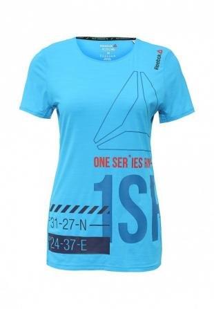 Голубые футболки, футболка спортивная reebok, осень-зима 2016/2017