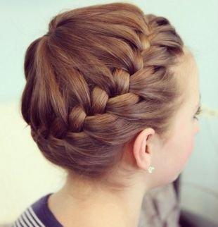 """Цвет волос светлый шатен на средние волосы, коса вокруг головы """"корона"""""""
