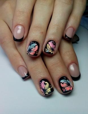 Китайская роспись ногтей, красивый френч на зиму