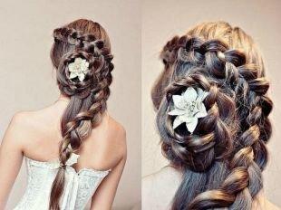 """Цвет волос светлый шатен на длинные волосы, свадебная прическа из кос - """"улитка"""""""