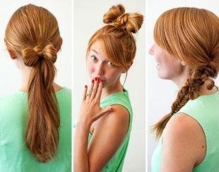 Медовый цвет волос на длинные волосы, прикольная прическа с бантом из волос