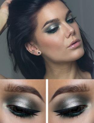 Макияж для брюнеток с серыми глазами, гламурный вечерний макияж