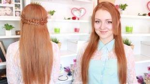 """Светло рыжий цвет волос на длинные волосы, красивая прическа """"мальвинка"""" с плетением"""