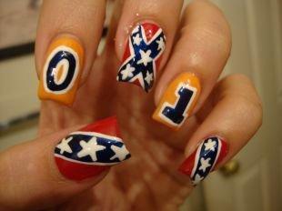 Рисунки на ногтях иголкой, маникюр с флагами