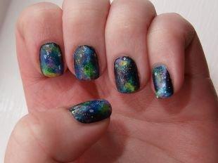 """Маникюр на очень коротких ногтях, необычный маникюр """"звездое небо"""" на коротких ногтях"""