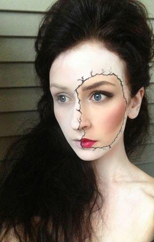 Легкий макияж на хэллоуин, необычный белый грим на хэллоуин