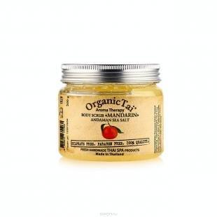 Тайский скраб для тела, organictai скраб для тела на основе соли андаманского моря «мандарин» 200 гр