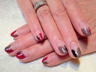 Красный френч, трехцветный френч на коротких ногтях, фото 8