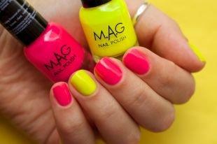Разноцветный маникюр, маникюр на короткие ногти с покрытием шеллаком