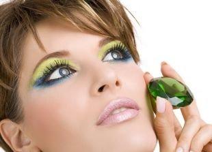 Арабский макияж для голубых глаз, макияж для вечеринки с салатовыми и синими тенями