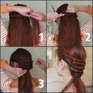 Красно коричневый цвет волос, простая прическа на каждый день