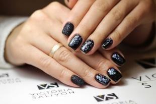 """Аквариумный дизайн ногтей, черный дизайн ногтей с эффектом """"битое стекло"""""""