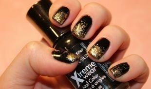 Маникюр на квадратные ногти, черно-золотой градиентный маникюр